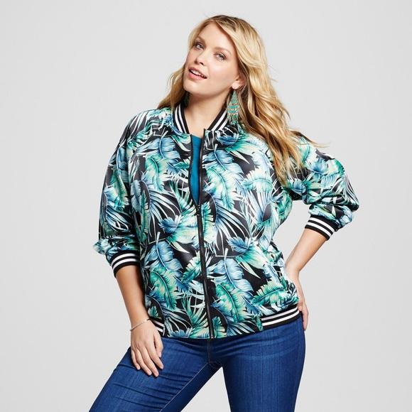 c71e01a57f05e Ava   Viv Jackets   Blazers - Ava   Viv palm tree tropical print bomber  jacket